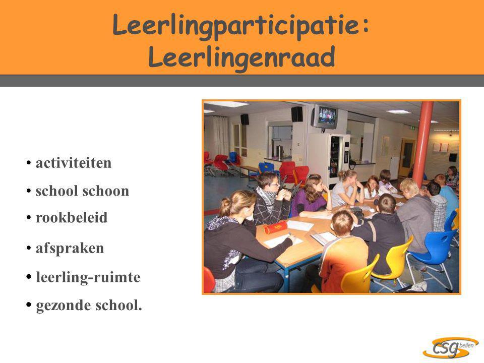 Leerlingparticipatie: Leerlingenraad • activiteiten • rookbeleid • afspraken • school schoon • leerling-ruimte • gezonde school.