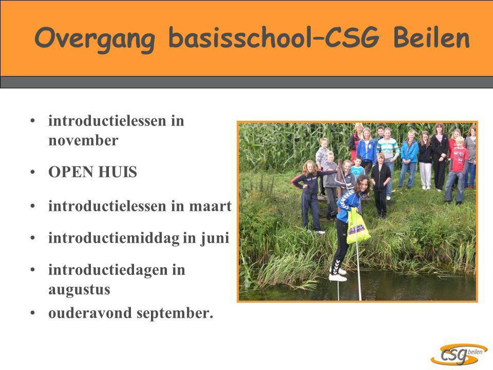 Overgang basisschool–CSG Beilen •introductielessen in november •OPEN HUIS •introductielessen in maart •introductiemiddag in juni •introductiedagen in