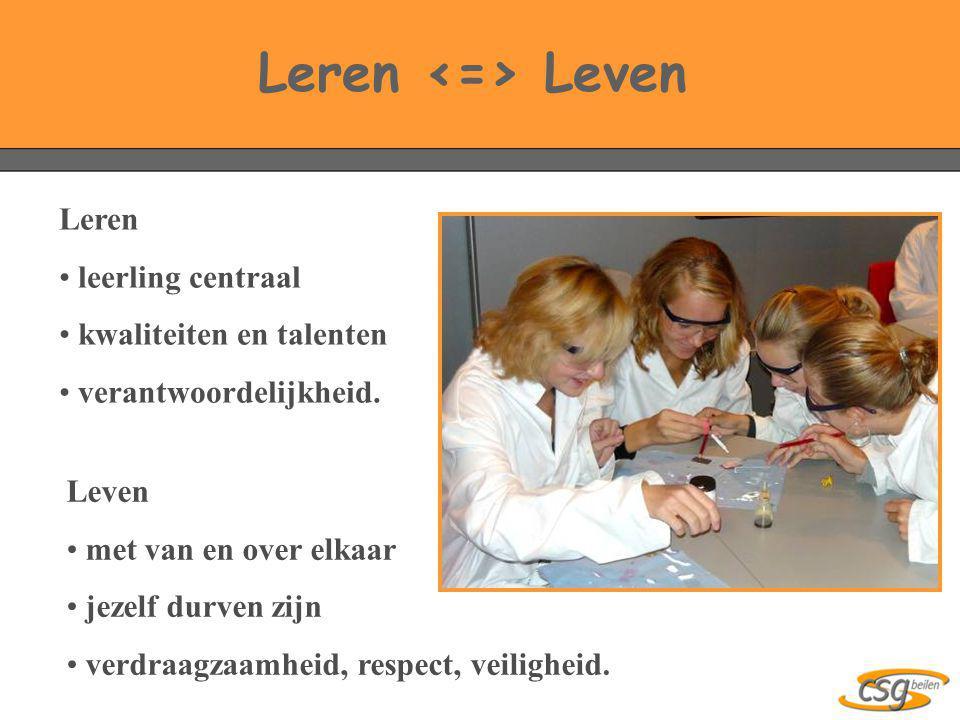 Leren • leerling centraal • kwaliteiten en talenten • verantwoordelijkheid. Leren Leven Leven • met van en over elkaar • jezelf durven zijn • verdraag