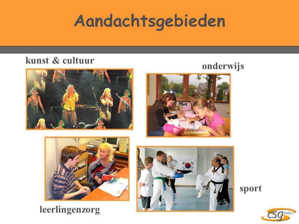 Aandachtsgebieden kunst & cultuur leerlingenzorg sport onderwijs