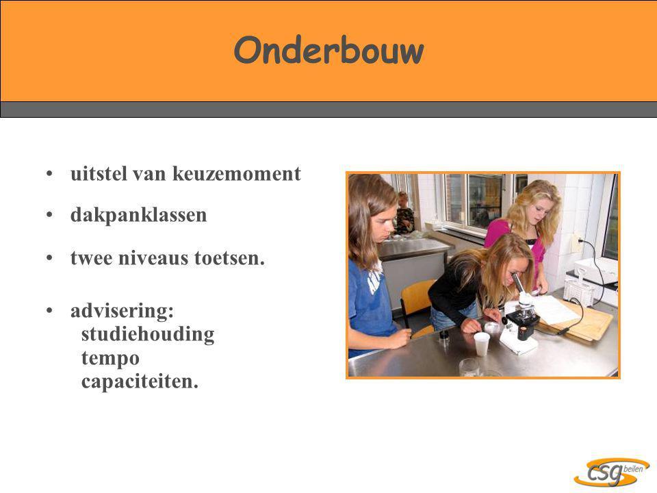 •uitstel van keuzemoment •dakpanklassen •twee niveaus toetsen. •advisering: studiehouding tempo capaciteiten.