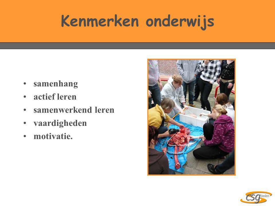 Kenmerken onderwijs •samenhang •actief leren •samenwerkend leren •vaardigheden •motivatie.