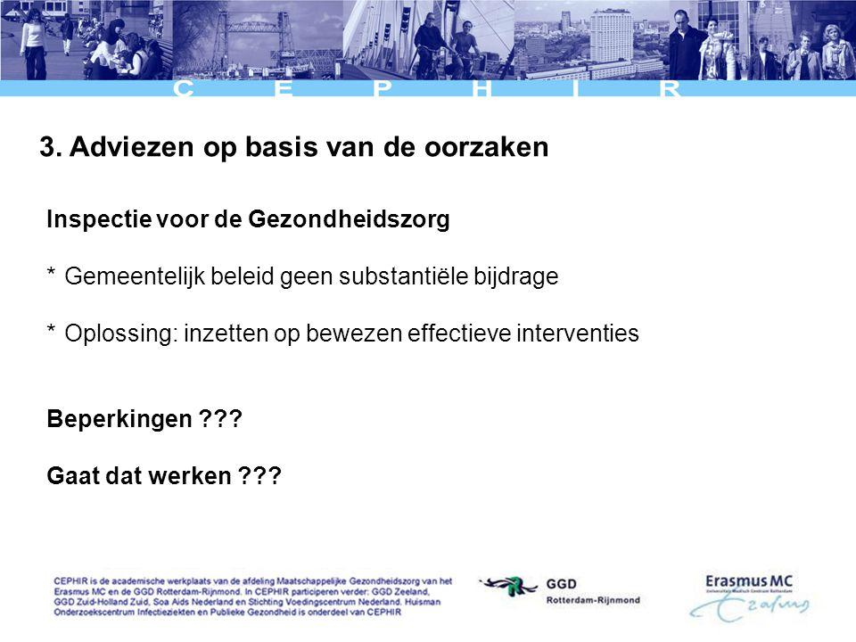 3. Adviezen op basis van de oorzaken Inspectie voor de Gezondheidszorg *Gemeentelijk beleid geen substantiële bijdrage *Oplossing: inzetten op bewezen