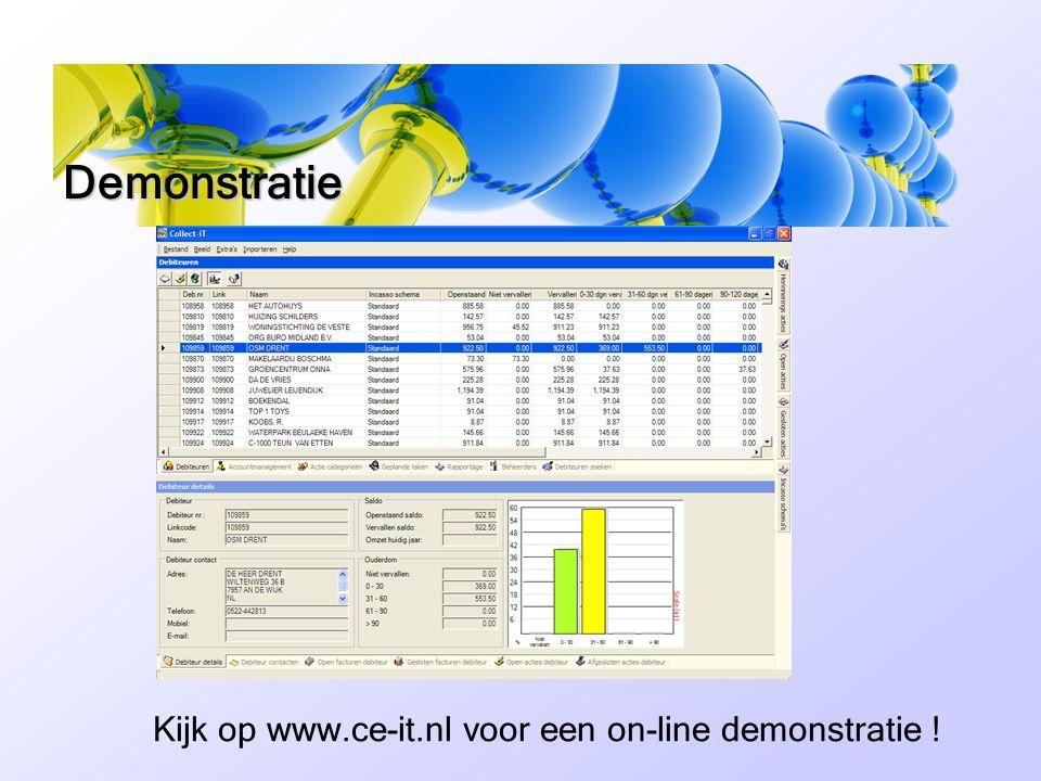 Demonstratie Kijk op www.ce-it.nl voor een on-line demonstratie !