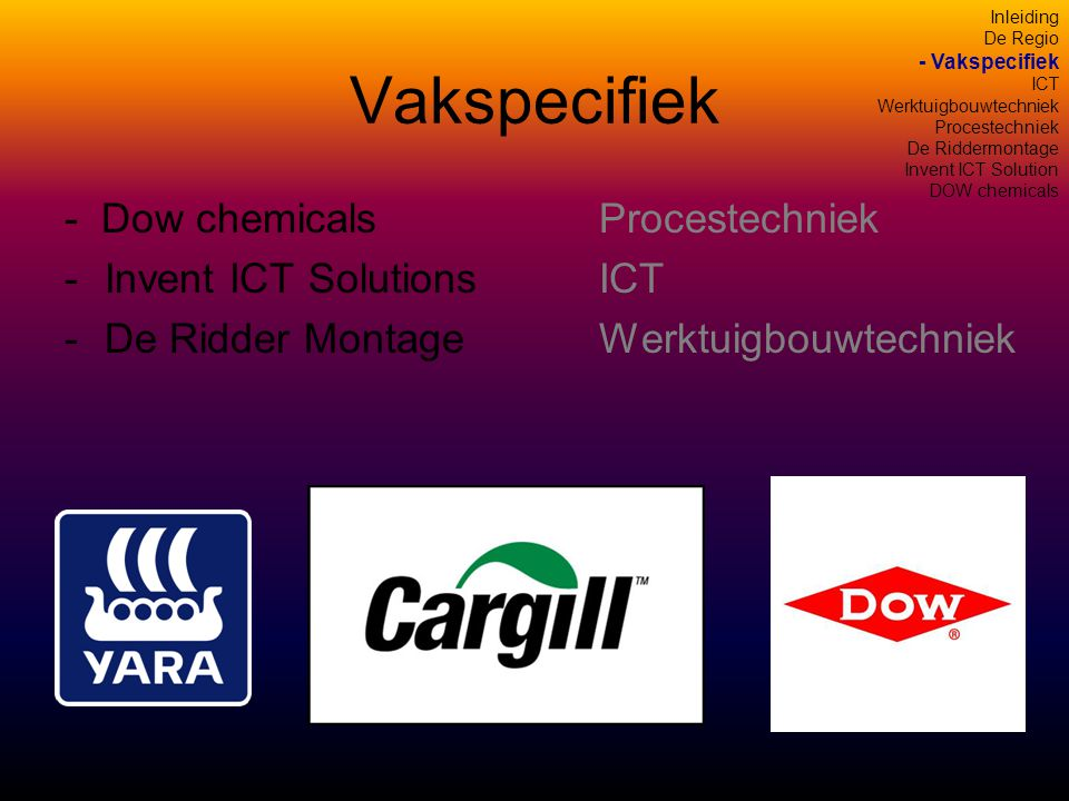 Vakspecifiek - Dow chemicalsProcestechniek -Invent ICT SolutionsICT -De Ridder MontageWerktuigbouwtechniek Inleiding De Regio - Vakspecifiek ICT Werktuigbouwtechniek Procestechniek De Riddermontage Invent ICT Solution DOW chemicals