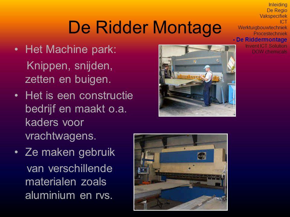 De Ridder Montage •Het Machine park: Knippen, snijden, zetten en buigen.