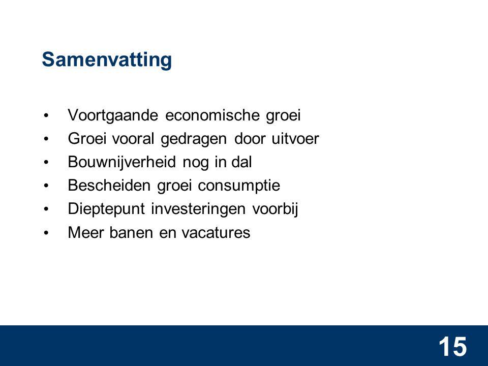 15 Samenvatting • Voortgaande economische groei • Groei vooral gedragen door uitvoer • Bouwnijverheid nog in dal • Bescheiden groei consumptie • Dieptepunt investeringen voorbij • Meer banen en vacatures