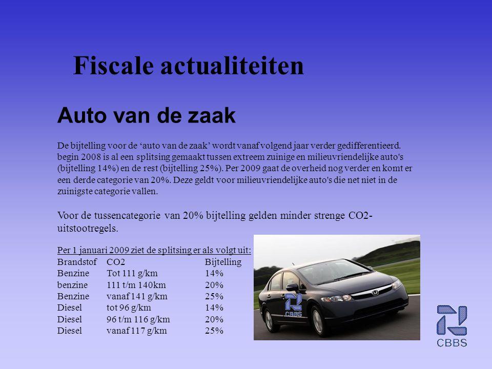 Fiscale actualiteiten Auto van de zaak De bijtelling voor de 'auto van de zaak' wordt vanaf volgend jaar verder gedifferentieerd. begin 2008 is al een