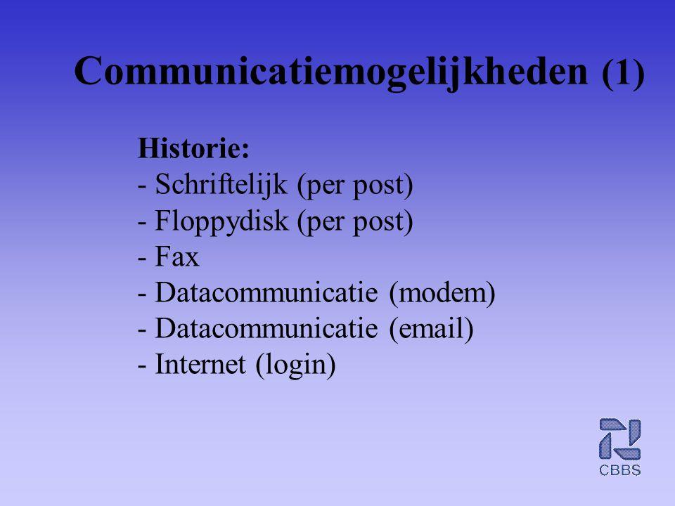 Communicatiemogelijkheden (1) Historie: - Schriftelijk (per post) - Floppydisk (per post) - Fax - Datacommunicatie (modem) - Datacommunicatie (email)