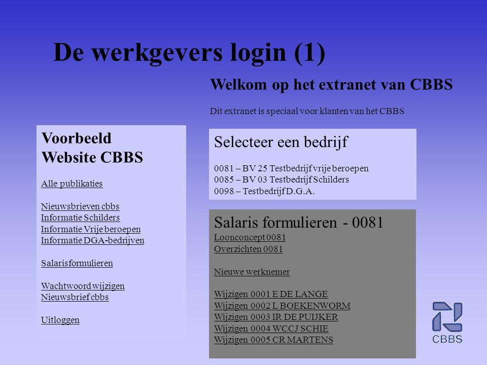 De werkgevers login (1) Voorbeeld Website CBBS Alle publikaties Nieuwsbrieven cbbs Informatie Schilders Informatie Vrije beroepen Informatie DGA-bedri