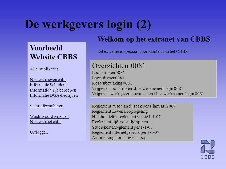 De werkgevers login (2) Voorbeeld Website CBBS Alle publikaties Nieuwsbrieven cbbs Informatie Schilders Informatie Vrije beroepen Informatie DGA-bedri
