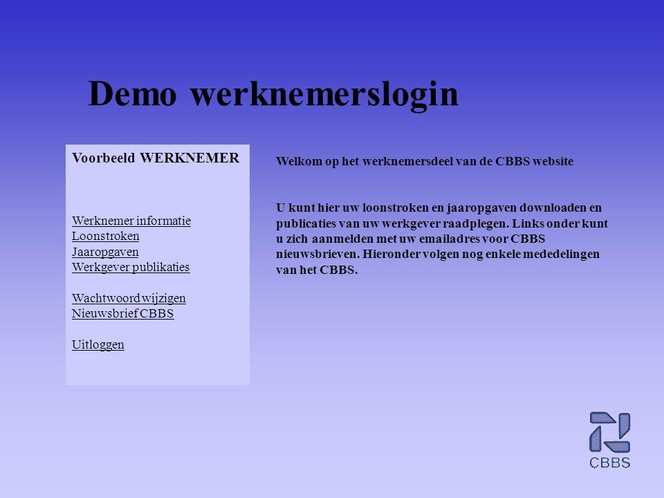 Demo werknemerslogin Welkom op het werknemersdeel van de CBBS website U kunt hier uw loonstroken en jaaropgaven downloaden en publicaties van uw werkg