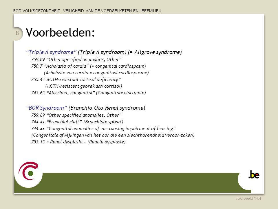 """FOD VOLKSGEZONDHEID, VEILIGHEID VAN DE VOEDSELKETEN EN LEEFMILIEU Voorbeelden: """"Triple A syndrome"""" (Triple A syndroom) (= Allgrove syndrome) 759.89 """"O"""