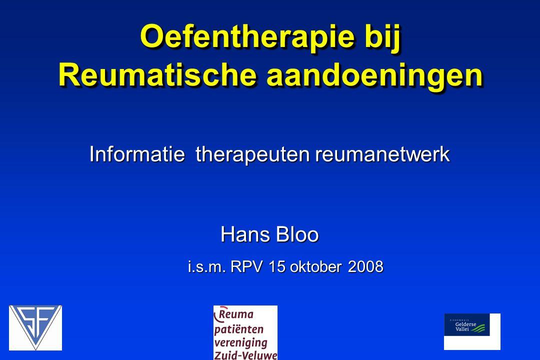 Informatie therapeuten reumanetwerk Oefentherapie bij Reumatische aandoeningen i.s.m.