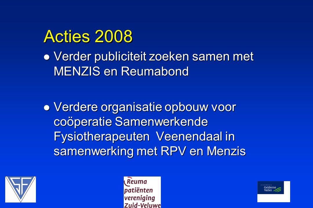 Acties 2008  Verder publiciteit zoeken samen met MENZIS en Reumabond  Verdere organisatie opbouw voor coöperatie Samenwerkende Fysiotherapeuten Veenendaal in samenwerking met RPV en Menzis