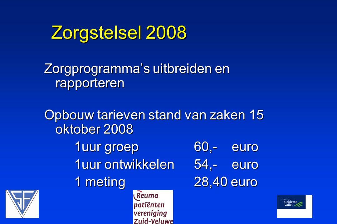 Zorgstelsel 2008 Zorgprogramma's uitbreiden en rapporteren Opbouw tarieven stand van zaken 15 oktober 2008 1uur groep 60,- euro 1uur ontwikkelen 54,- euro 1 meting 28,40 euro