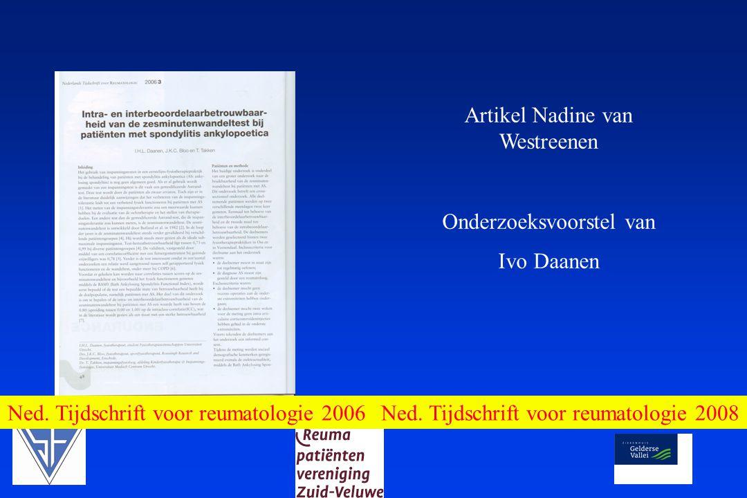 Ned. Tijdschrift voor reumatologie 2008 Artikel Nadine van Westreenen Onderzoeksvoorstel van Ivo Daanen