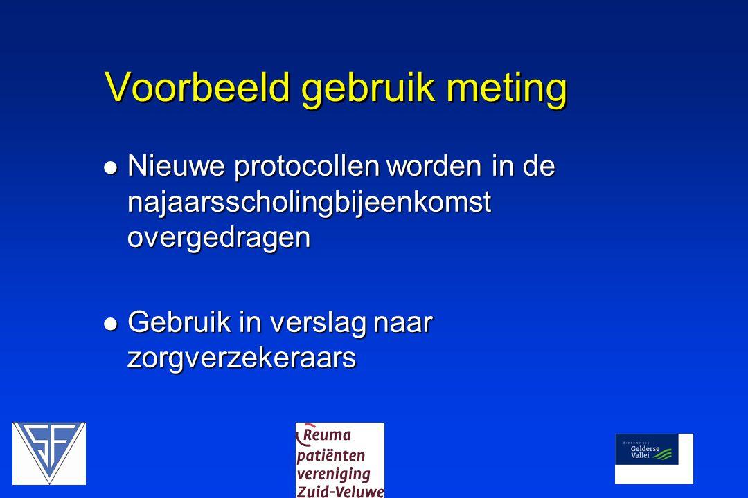 Voorbeeld gebruik meting  Nieuwe protocollen worden in de najaarsscholingbijeenkomst overgedragen  Gebruik in verslag naar zorgverzekeraars