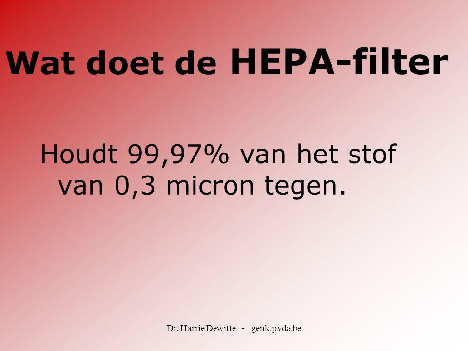 Dr. Harrie Dewitte - genk.pvda.be Houdt 99,97% van het stof van 0,3 micron tegen. Wat doet de HEPA-filter