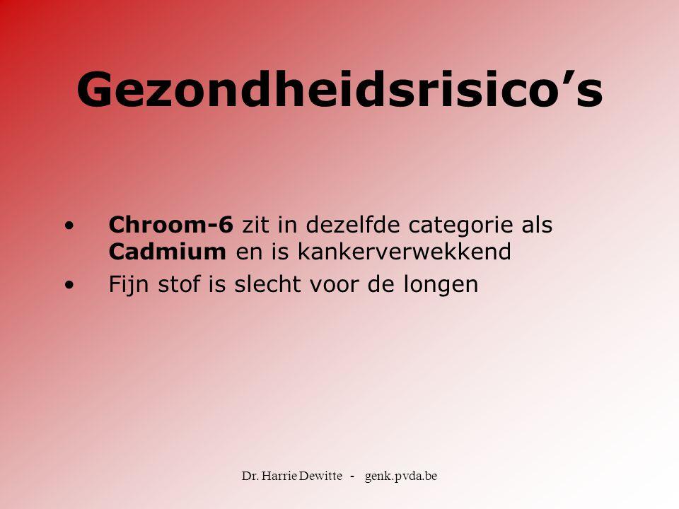 Dr. Harrie Dewitte - genk.pvda.be Gezondheidsrisico's •Chroom-6 zit in dezelfde categorie als Cadmium en is kankerverwekkend •Fijn stof is slecht voor
