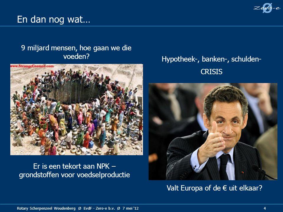 Rotary Scherpenzeel Woudenberg Ø EvdF - Zero-e b.v. Ø 7 mei '12 4 En dan nog wat… 9 miljard mensen, hoe gaan we die voeden? Hypotheek-, banken-, schul
