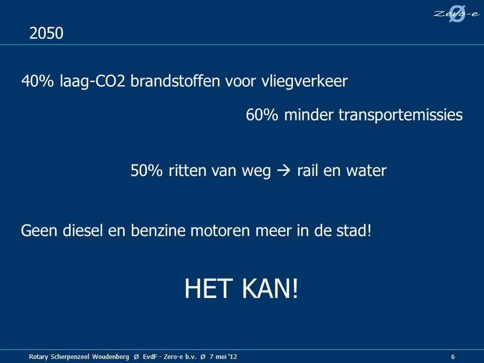 Rotary Scherpenzeel Woudenberg Ø EvdF - Zero-e b.v. Ø 7 mei '12 6 2050 60% minder transportemissies Geen diesel en benzine motoren meer in de stad! 40