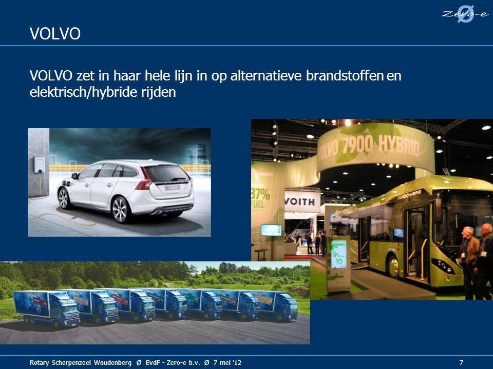Rotary Scherpenzeel Woudenberg Ø EvdF - Zero-e b.v. Ø 7 mei '12 7 VOLVO VOLVO zet in haar hele lijn in op alternatieve brandstoffen en elektrisch/hybr
