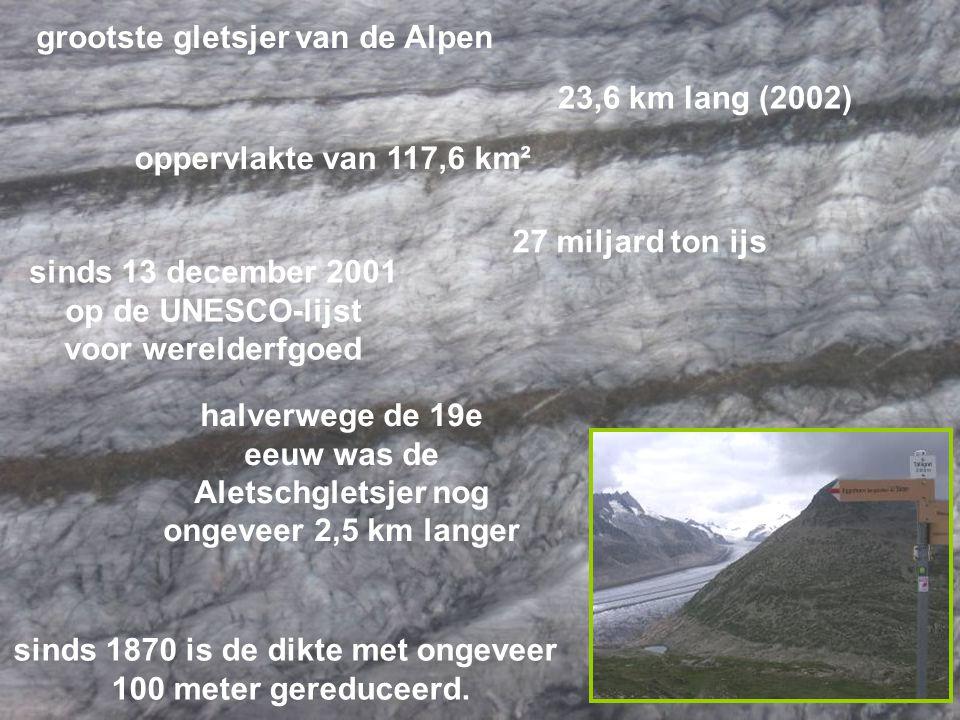 grootste gletsjer van de Alpen 23,6 km lang (2002) oppervlakte van 117,6 km² 27 miljard ton ijs sinds 13 december 2001 op de UNESCO-lijst voor werelderfgoed halverwege de 19e eeuw was de Aletschgletsjer nog ongeveer 2,5 km langer sinds 1870 is de dikte met ongeveer 100 meter gereduceerd.