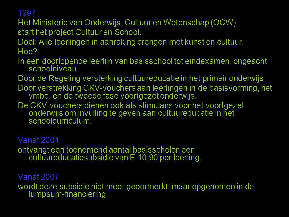 1997 Het Ministerie van Onderwijs, Cultuur en Wetenschap (OCW) start het project Cultuur en School. Doel: Alle leerlingen in aanraking brengen met kun