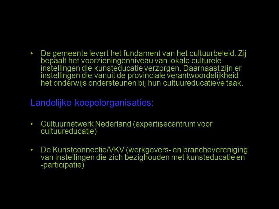 •De gemeente levert het fundament van het cultuurbeleid. Zij bepaalt het voorzieningenniveau van lokale culturele instellingen die kunsteducatie verzo