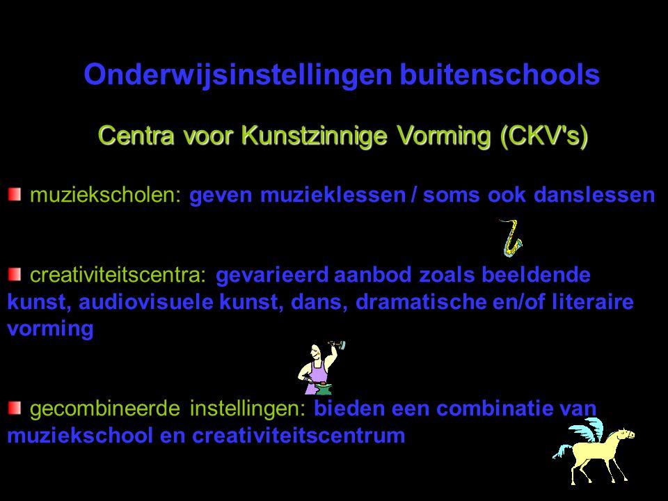 Onderwijsinstellingen buitenschools Centra voor Kunstzinnige Vorming (CKV's) muziekscholen: geven muzieklessen / soms ook danslessen creativiteitscent