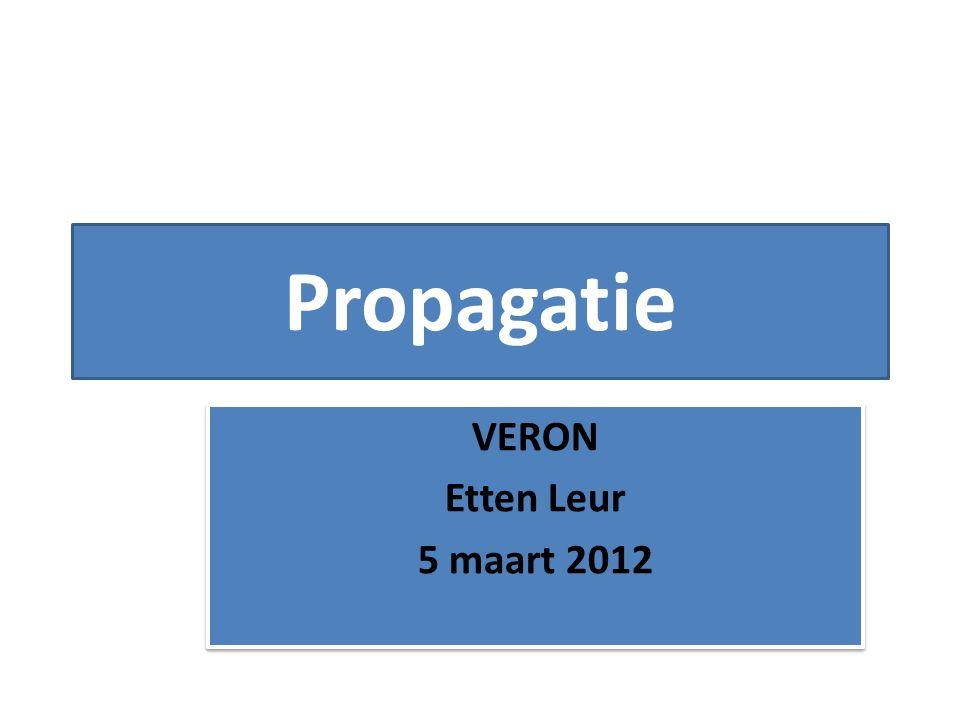 Propagatie VERON Etten Leur 5 maart 2012 VERON Etten Leur 5 maart 2012
