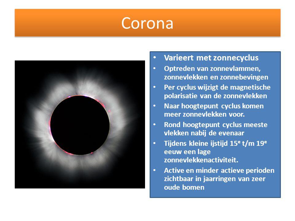 Corona • Varieert met zonnecyclus • Optreden van zonnevlammen, zonnevlekken en zonnebevingen • Per cyclus wijzigt de magnetische polarisatie van de zo