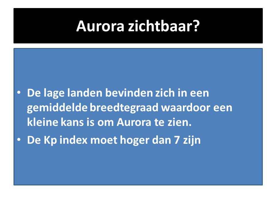 Aurora zichtbaar? • De lage landen bevinden zich in een gemiddelde breedtegraad waardoor een kleine kans is om Aurora te zien. • De Kp index moet hoge