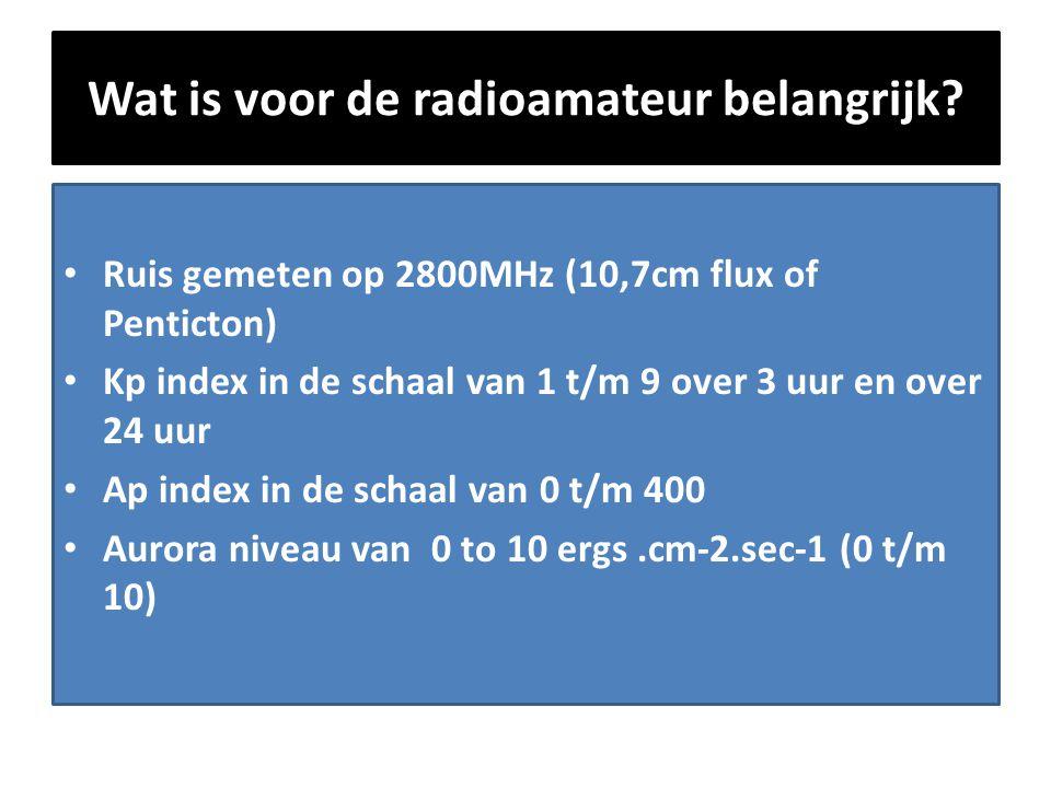 Wat is voor de radioamateur belangrijk? • Ruis gemeten op 2800MHz (10,7cm flux of Penticton) • Kp index in de schaal van 1 t/m 9 over 3 uur en over 24