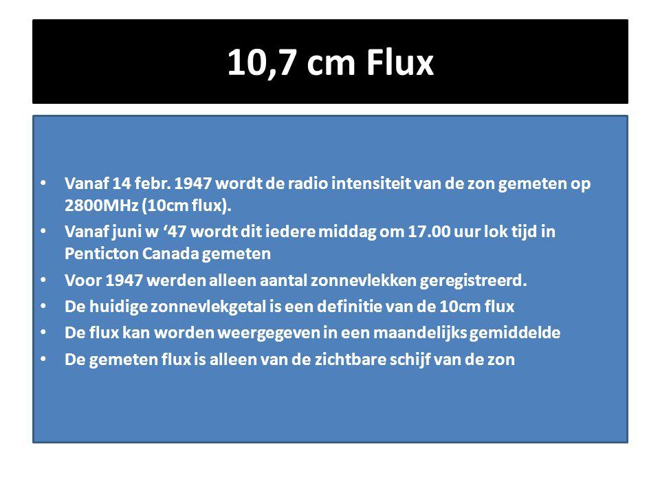 10,7 cm Flux • Vanaf 14 febr. 1947 wordt de radio intensiteit van de zon gemeten op 2800MHz (10cm flux). • Vanaf juni w '47 wordt dit iedere middag om
