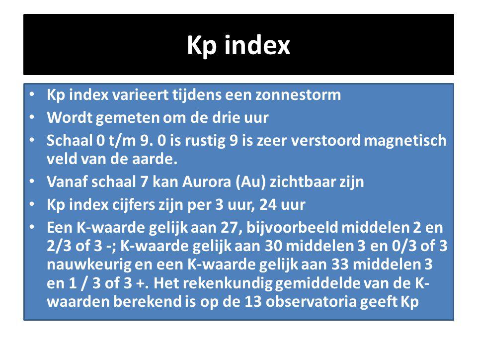 Kp index • Kp index varieert tijdens een zonnestorm • Wordt gemeten om de drie uur • Schaal 0 t/m 9. 0 is rustig 9 is zeer verstoord magnetisch veld v
