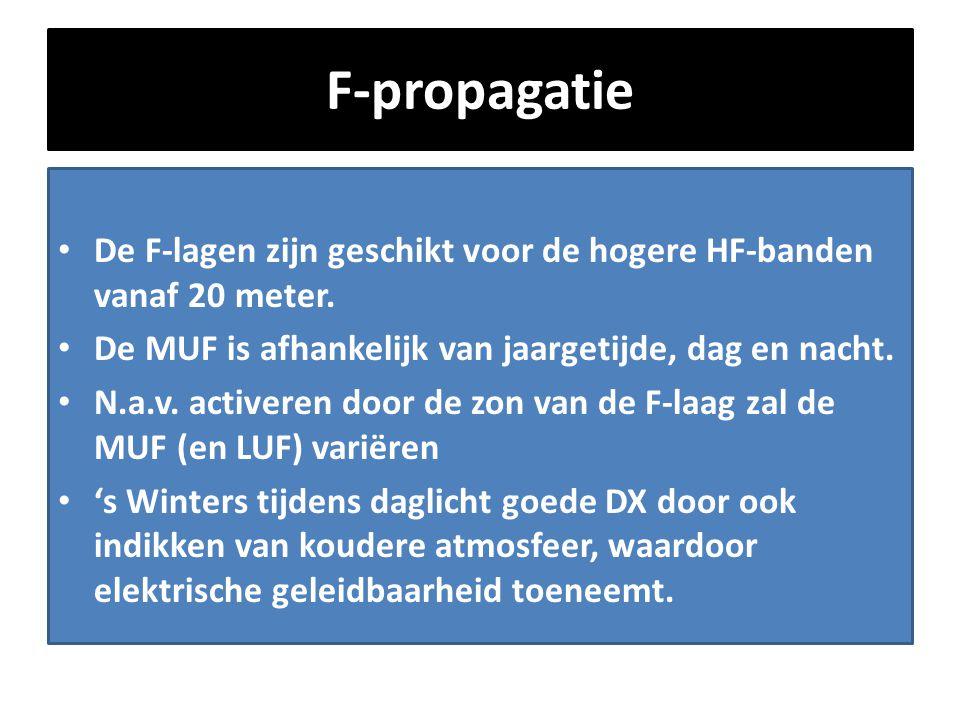 F-propagatie • De F-lagen zijn geschikt voor de hogere HF-banden vanaf 20 meter. • De MUF is afhankelijk van jaargetijde, dag en nacht. • N.a.v. activ