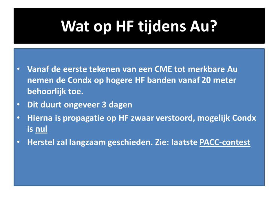 Wat op HF tijdens Au? • Vanaf de eerste tekenen van een CME tot merkbare Au nemen de Condx op hogere HF banden vanaf 20 meter behoorlijk toe. • Dit du