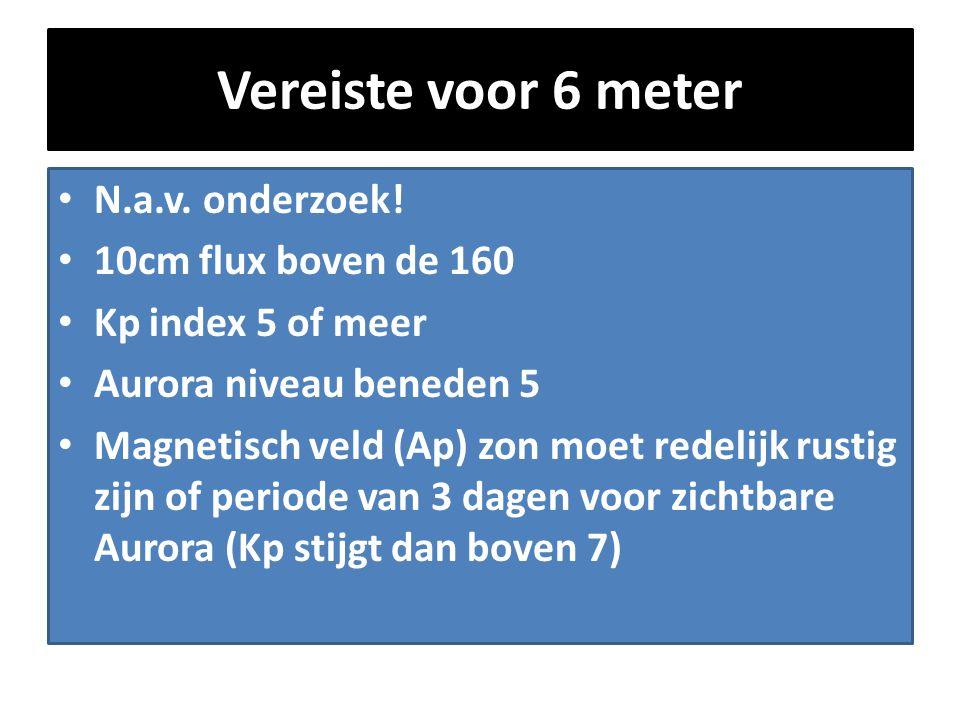 Vereiste voor 6 meter • N.a.v. onderzoek! • 10cm flux boven de 160 • Kp index 5 of meer • Aurora niveau beneden 5 • Magnetisch veld (Ap) zon moet rede