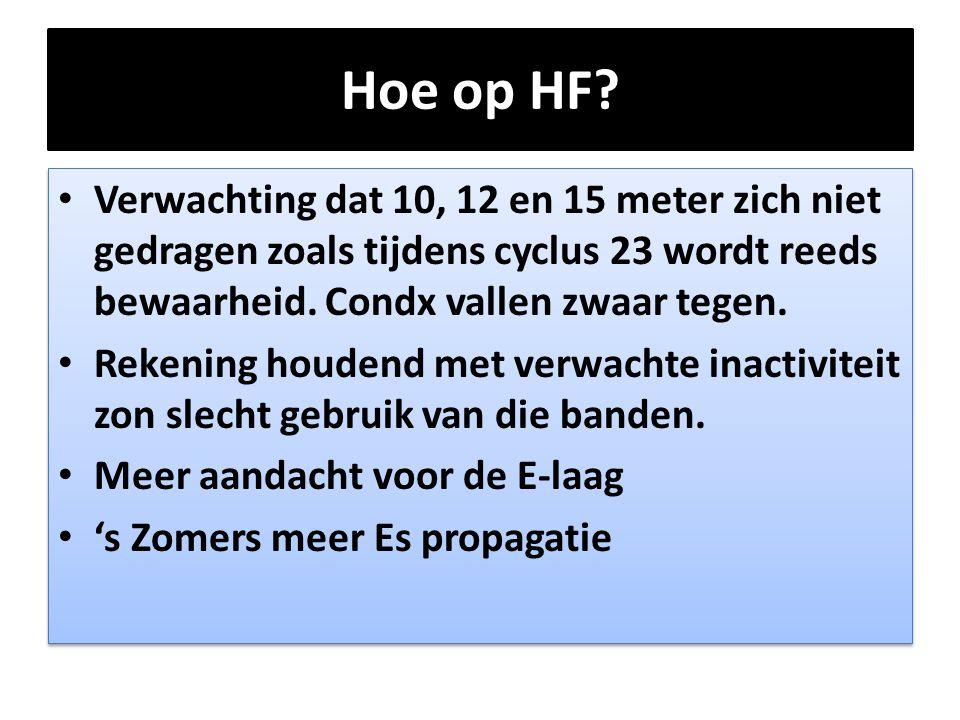 Hoe op HF? • Verwachting dat 10, 12 en 15 meter zich niet gedragen zoals tijdens cyclus 23 wordt reeds bewaarheid. Condx vallen zwaar tegen. • Rekenin