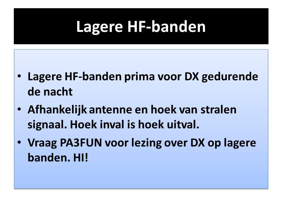 Lagere HF-banden • Lagere HF-banden prima voor DX gedurende de nacht • Afhankelijk antenne en hoek van stralen signaal. Hoek inval is hoek uitval. • V