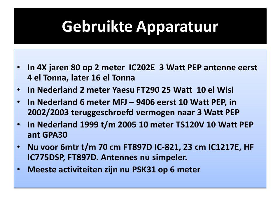 Gebruikte Apparatuur • In 4X jaren 80 op 2 meter IC202E 3 Watt PEP antenne eerst 4 el Tonna, later 16 el Tonna • In Nederland 2 meter Yaesu FT290 25 W