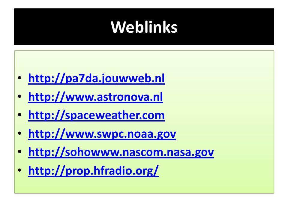 Weblinks • http://pa7da.jouwweb.nl http://pa7da.jouwweb.nl • http://www.astronova.nl http://www.astronova.nl • http://spaceweather.com http://spacewea