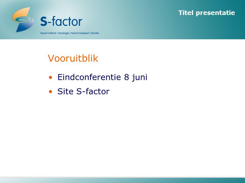 Titel presentatie Vooruitblik •Eindconferentie 8 juni •Site S-factor