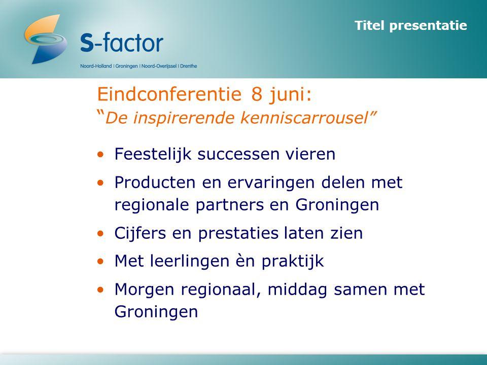 """Titel presentatie Eindconferentie 8 juni: """" De inspirerende kenniscarrousel"""" •Feestelijk successen vieren •Producten en ervaringen delen met regionale"""