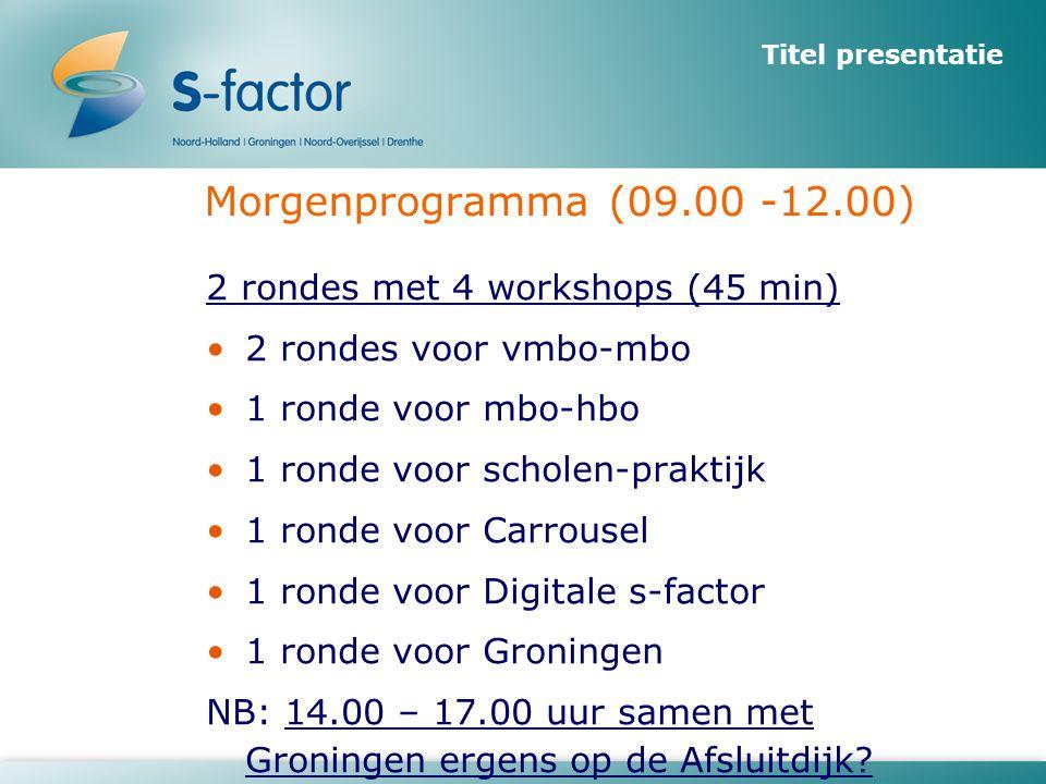 Titel presentatie Morgenprogramma (09.00 -12.00) 2 rondes met 4 workshops (45 min) •2 rondes voor vmbo-mbo •1 ronde voor mbo-hbo •1 ronde voor scholen-praktijk •1 ronde voor Carrousel •1 ronde voor Digitale s-factor •1 ronde voor Groningen NB: 14.00 – 17.00 uur samen met Groningen ergens op de Afsluitdijk?
