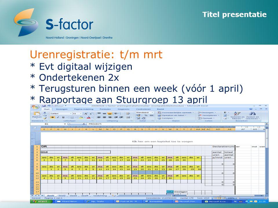 Urenregistratie: t/m mrt * Evt digitaal wijzigen * Ondertekenen 2x * Terugsturen binnen een week (vóór 1 april) * Rapportage aan Stuurgroep 13 april