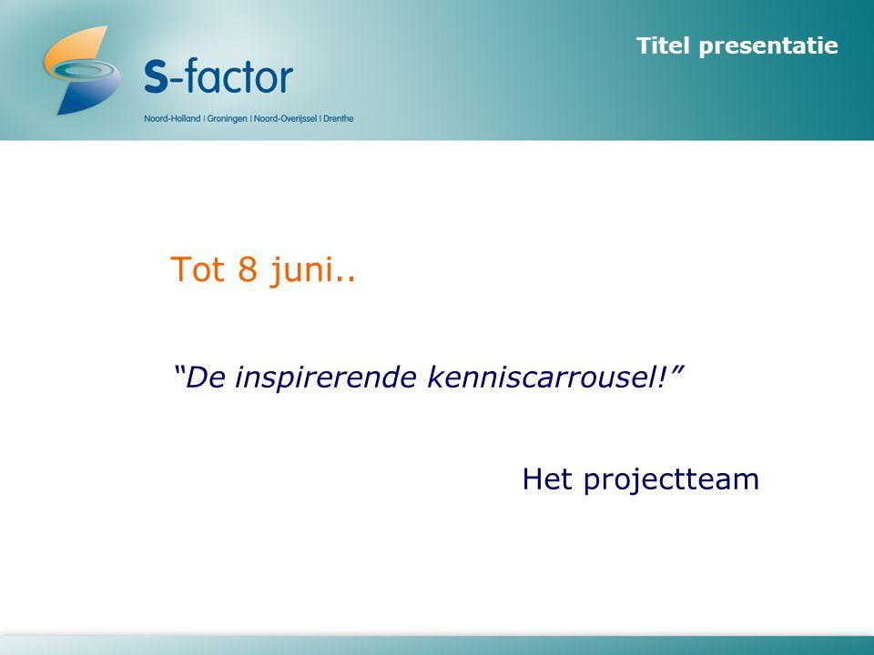 """Titel presentatie Tot 8 juni.. """"De inspirerende kenniscarrousel!"""" Het projectteam"""