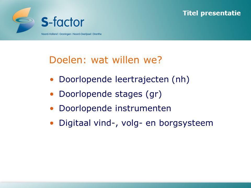 Titel presentatie Doelen: wat willen we? •Doorlopende leertrajecten (nh) •Doorlopende stages (gr) •Doorlopende instrumenten •Digitaal vind-, volg- en